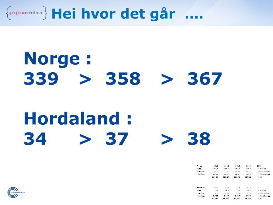 Hei hvor det går …. Norge : 339 > 358> 367 Hordaland : 34 > 37 > 38 Norge20112012201320142013 bygg243,3253,8267,6275,95 %bygg nyanlegg50,75761,6561,72