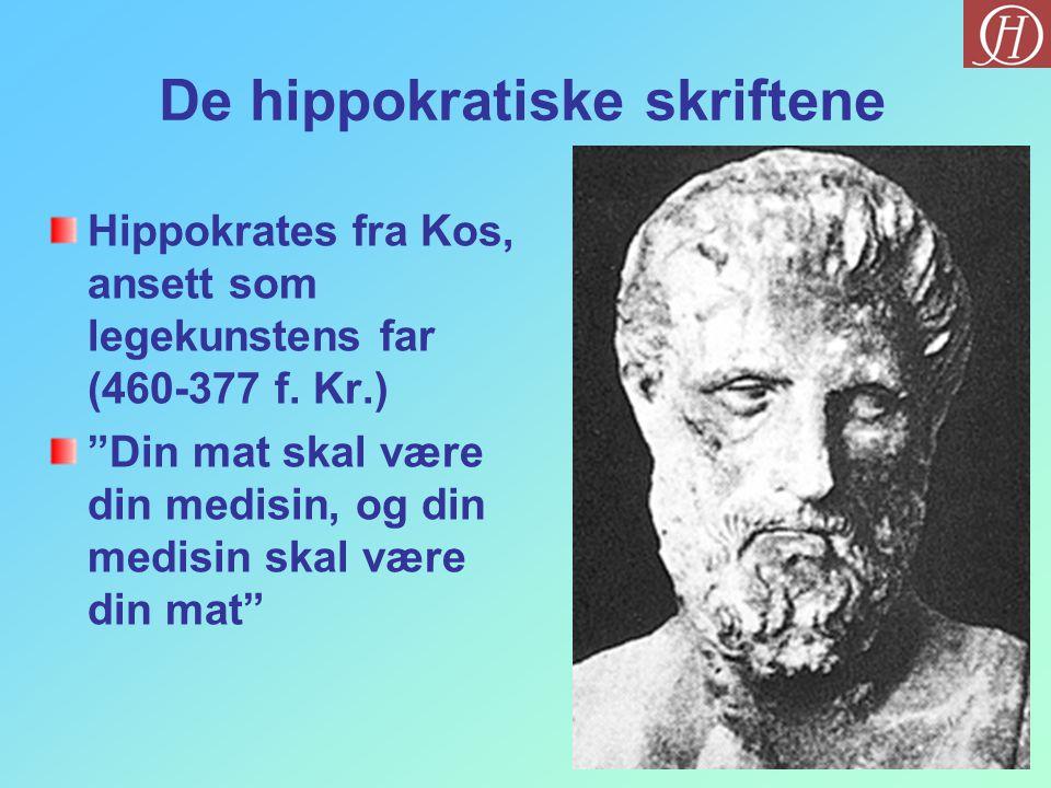 """De hippokratiske skriftene Hippokrates fra Kos, ansett som legekunstens far (460-377 f. Kr.) """"Din mat skal være din medisin, og din medisin skal være"""