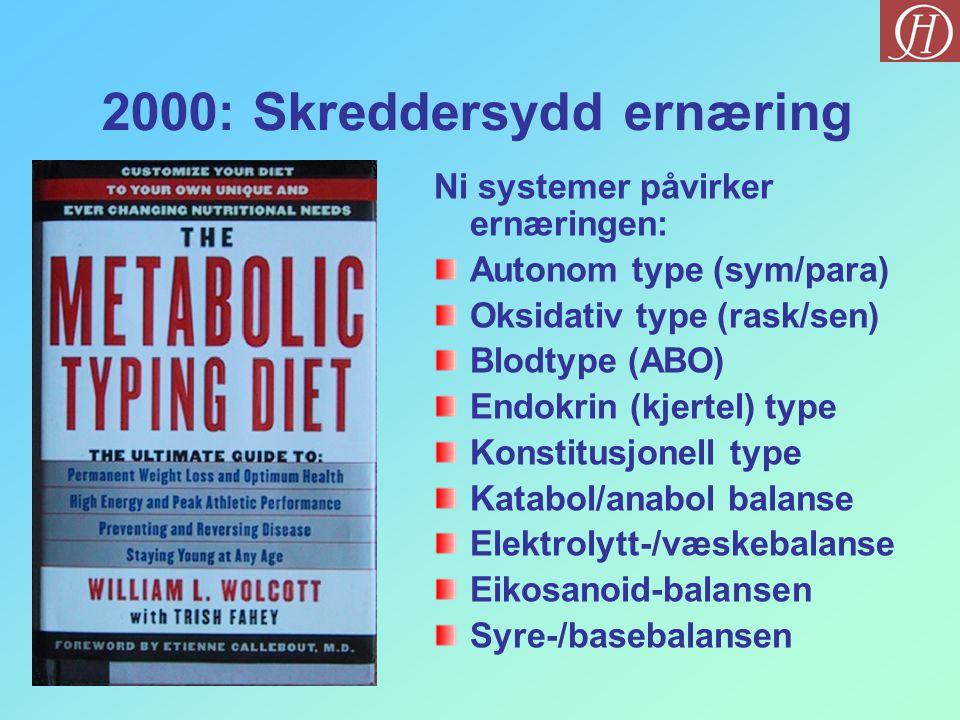 2000: Skreddersydd ernæring Ni systemer påvirker ernæringen: Autonom type (sym/para) Oksidativ type (rask/sen) Blodtype (ABO) Endokrin (kjertel) type
