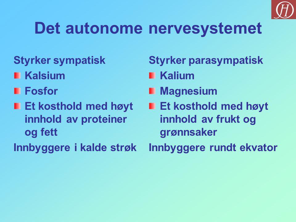 Det autonome nervesystemet Styrker sympatisk Kalsium Fosfor Et kosthold med høyt innhold av proteiner og fett Innbyggere i kalde strøk Styrker parasym