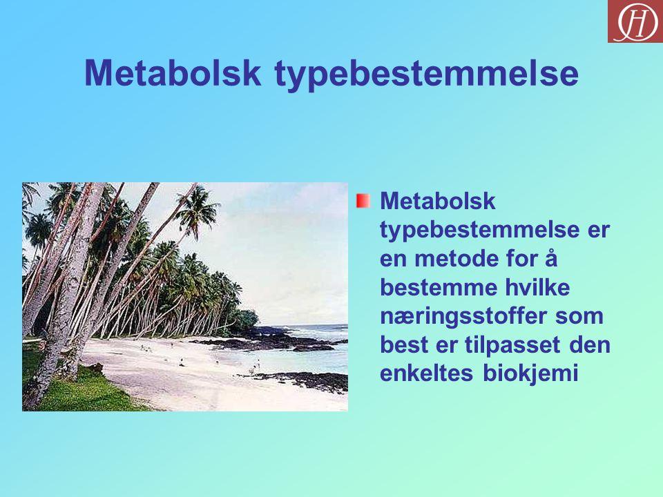 Metabolsk typebestemmelse Metabolsk typebestemmelse er en metode for å bestemme hvilke næringsstoffer som best er tilpasset den enkeltes biokjemi