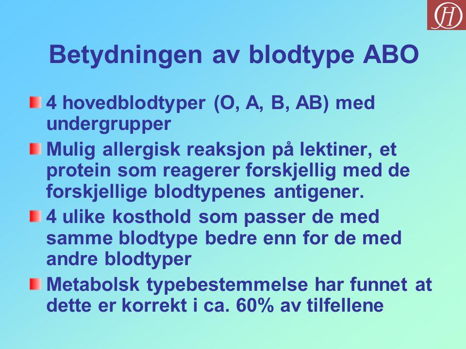 Betydningen av blodtype ABO 4 hovedblodtyper (O, A, B, AB) med undergrupper Mulig allergisk reaksjon på lektiner, et protein som reagerer forskjellig
