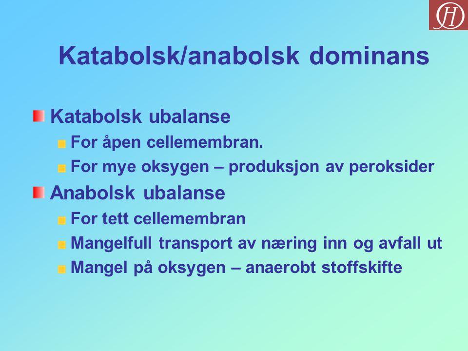 Katabolsk/anabolsk dominans Katabolsk ubalanse For åpen cellemembran. For mye oksygen – produksjon av peroksider Anabolsk ubalanse For tett cellemembr