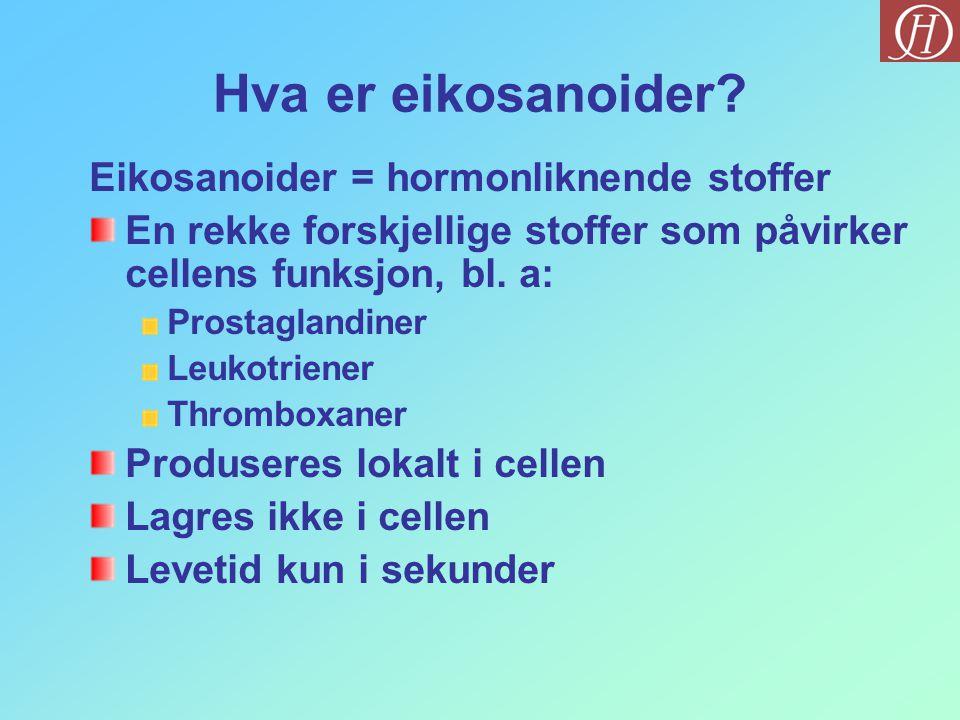 Hva er eikosanoider? Eikosanoider = hormonliknende stoffer En rekke forskjellige stoffer som påvirker cellens funksjon, bl. a: Prostaglandiner Leukotr
