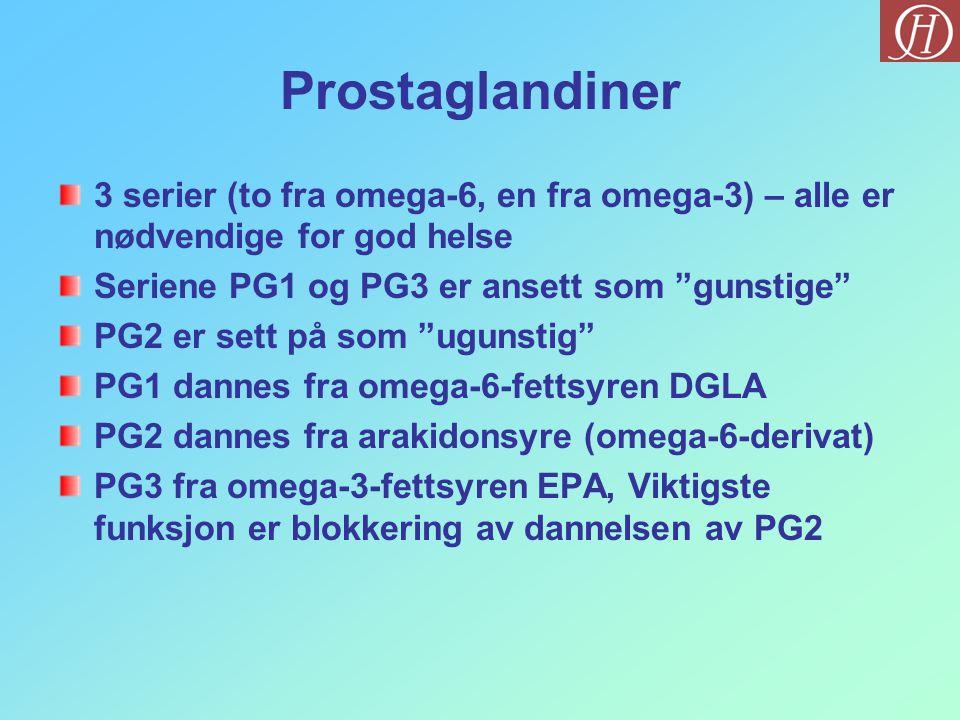 """Prostaglandiner 3 serier (to fra omega-6, en fra omega-3) – alle er nødvendige for god helse Seriene PG1 og PG3 er ansett som """"gunstige"""" PG2 er sett p"""