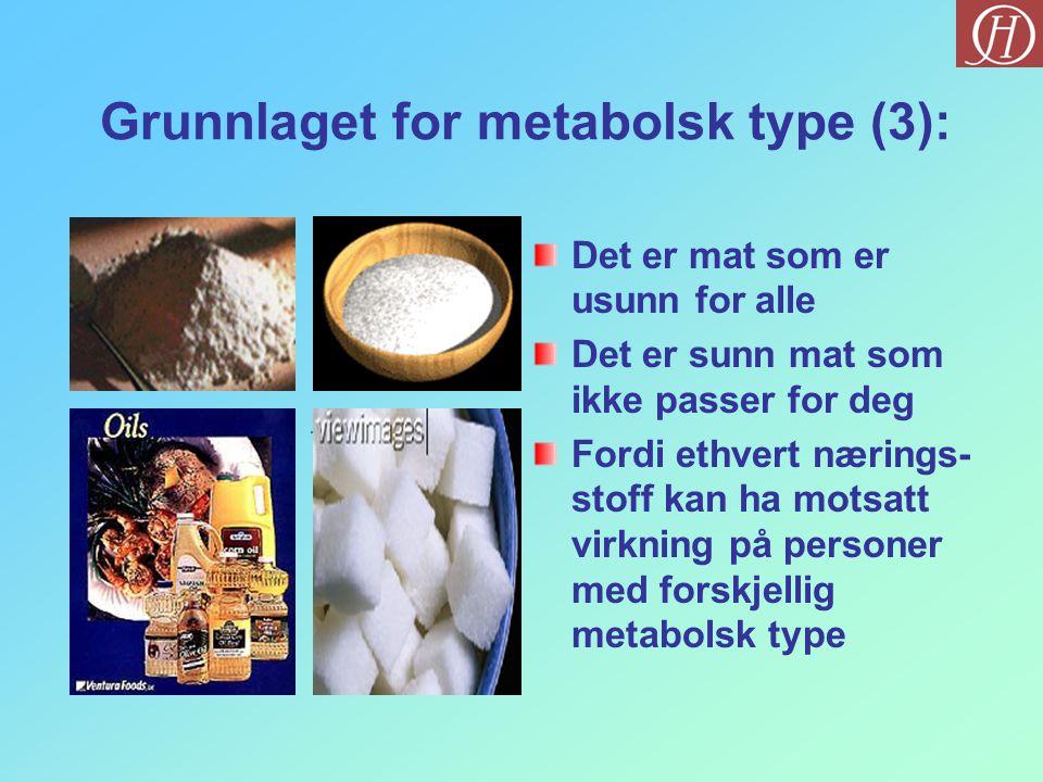 Grunnlaget for metabolsk type (3): Det er mat som er usunn for alle Det er sunn mat som ikke passer for deg Fordi ethvert nærings- stoff kan ha motsat