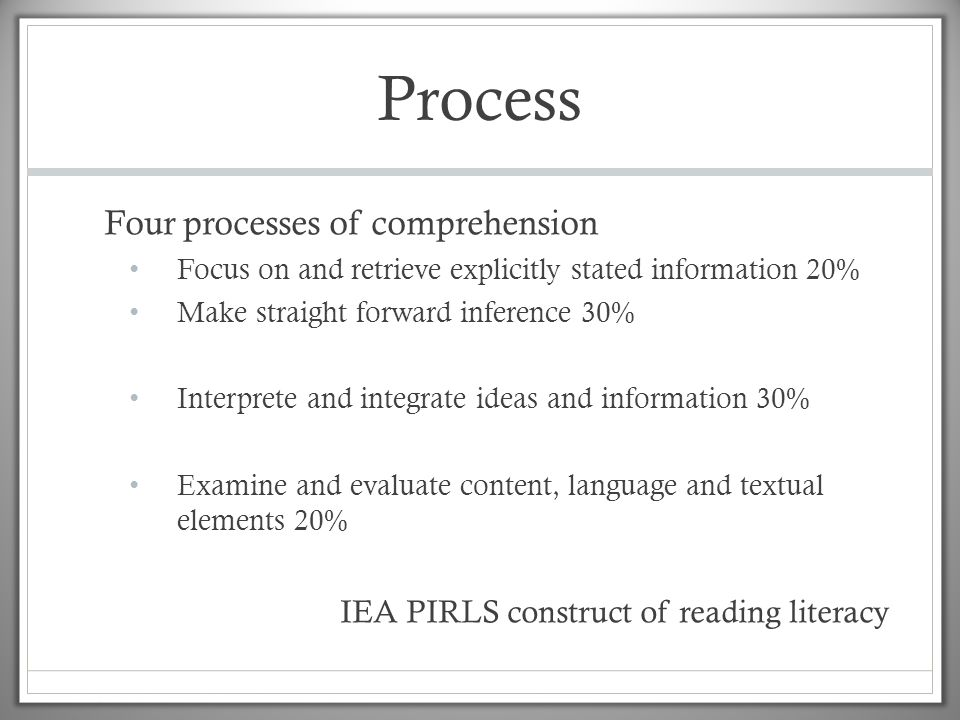 Process Four processes of comprehension • Focus on and retrieve explicitly stated information 20% • Make straight forward inference 30% • Interprete and integrate ideas and information 30% • Examine and evaluate content, language and textual elements 20% IEA PIRLS construct of reading literacy