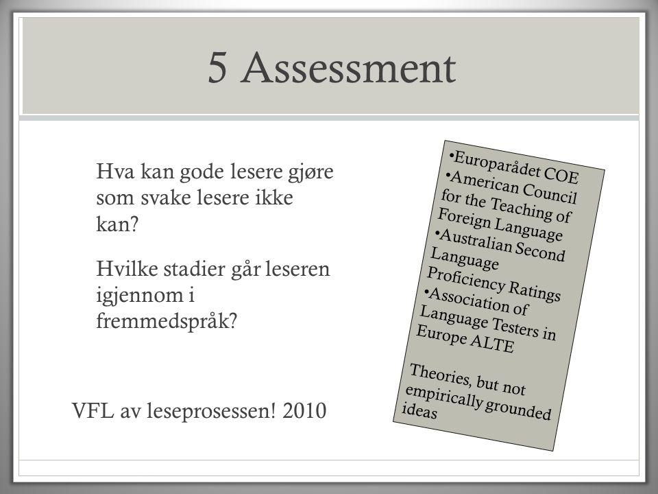 5 Assessment Hva kan gode lesere gjøre som svake lesere ikke kan? Hvilke stadier går leseren igjennom i fremmedspråk? VFL av leseprosessen! 2010 • Eur