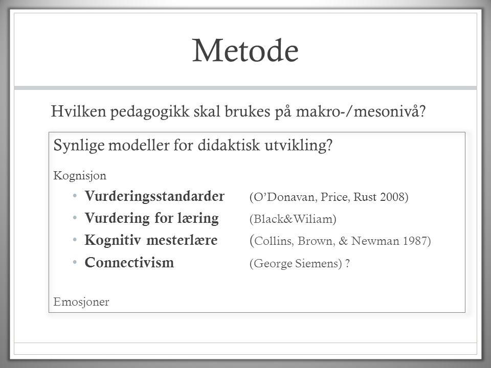 Metode Hvilken pedagogikk skal brukes på makro-/mesonivå? Synlige modeller for didaktisk utvikling? Kognisjon • Vurderingsstandarder (O'Donavan, Price