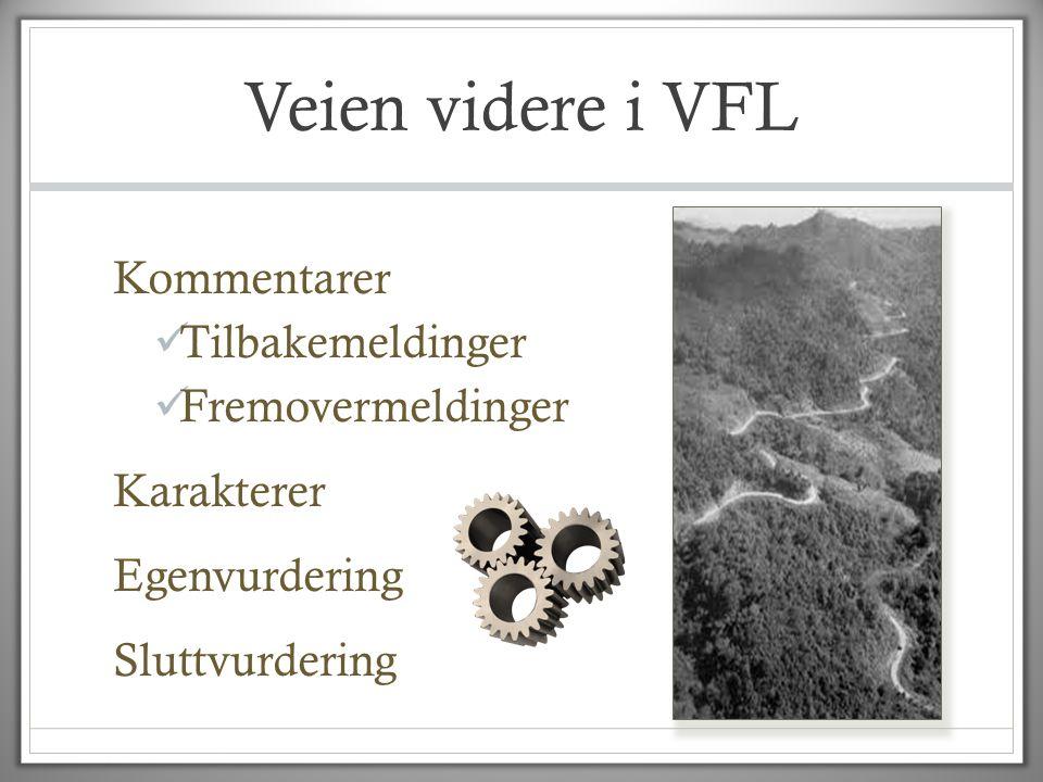 Veien videre i VFL Kommentarer  Tilbakemeldinger  Fremovermeldinger Karakterer Egenvurdering Sluttvurdering