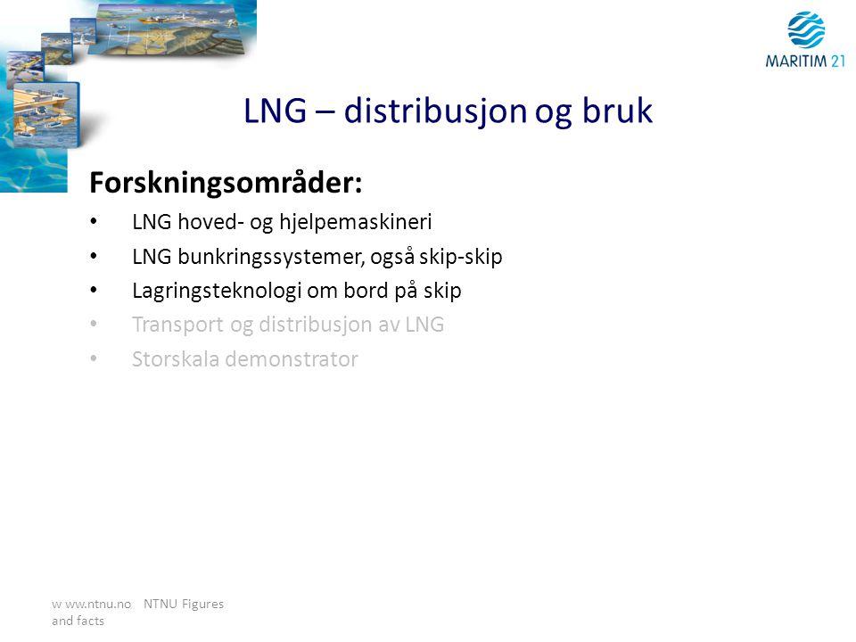 w ww.ntnu.no NTNU Figures and facts LNG – distribusjon og bruk Forskningsområder: • LNG hoved- og hjelpemaskineri • LNG bunkringssystemer, også skip-s