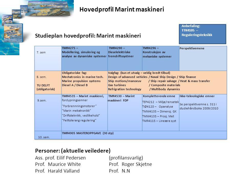 Studieplan hovedprofil: Marint maskineri Personer: (aktuelle veiledere) Ass. prof. Eilif Pedersen(profilansvarlig) Prof. Maurice WhiteProf. Roger Skje