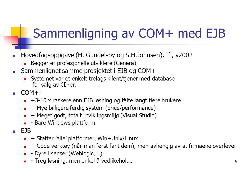 9 Sammenligning av COM+ med EJB  Hovedfagsoppgave (H.