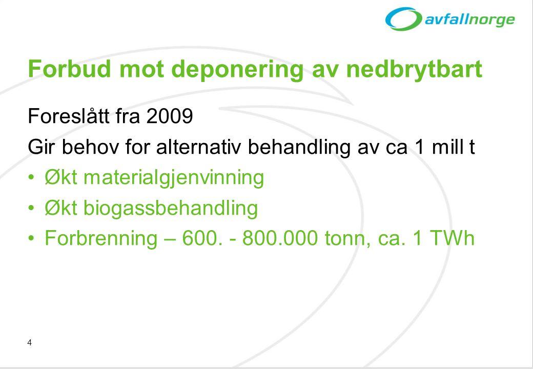 4 Forbud mot deponering av nedbrytbart Foreslått fra 2009 Gir behov for alternativ behandling av ca 1 mill t •Økt materialgjenvinning •Økt biogassbeha