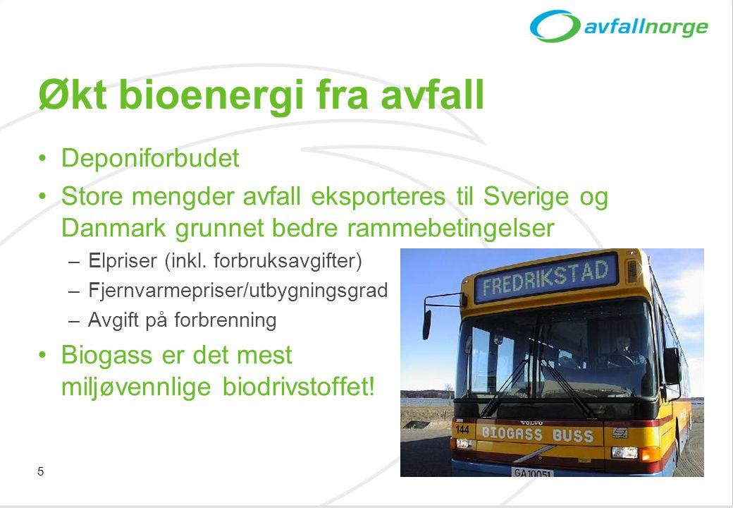 5 Økt bioenergi fra avfall •Deponiforbudet •Store mengder avfall eksporteres til Sverige og Danmark grunnet bedre rammebetingelser –Elpriser (inkl. fo