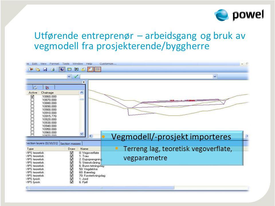 Utførende entreprenør – arbeidsgang og bruk av vegmodell fra prosjekterende/byggherre •Vegmodell/-prosjekt importeres  Terreng lag, teoretisk vegover