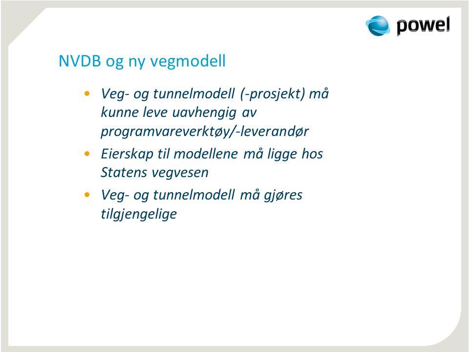 NVDB og ny vegmodell •Veg- og tunnelmodell (-prosjekt) må kunne leve uavhengig av programvareverktøy/-leverandør •Eierskap til modellene må ligge hos Statens vegvesen •Veg- og tunnelmodell må gjøres tilgjengelige
