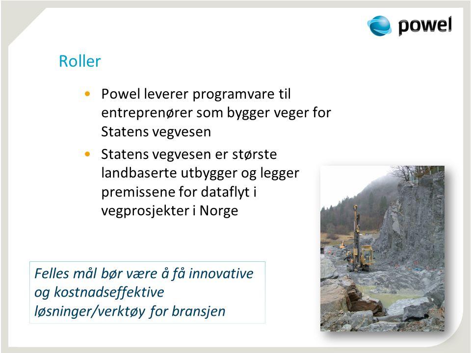 Roller •Powel leverer programvare til entreprenører som bygger veger for Statens vegvesen •Statens vegvesen er største landbaserte utbygger og legger premissene for dataflyt i vegprosjekter i Norge Felles mål bør være å få innovative og kostnadseffektive løsninger/verktøy for bransjen
