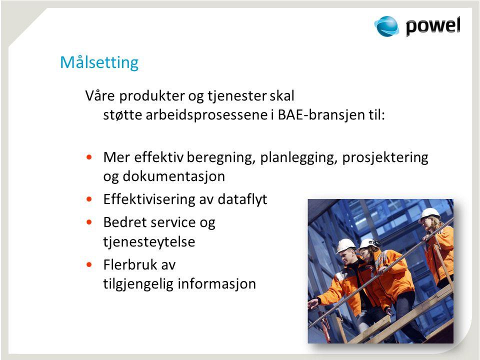 Målsetting Våre produkter og tjenester skal støtte arbeidsprosessene i BAE-bransjen til: •Mer effektiv beregning, planlegging, prosjektering og dokumentasjon •Effektivisering av dataflyt •Bedret service og tjenesteytelse •Flerbruk av tilgjengelig informasjon