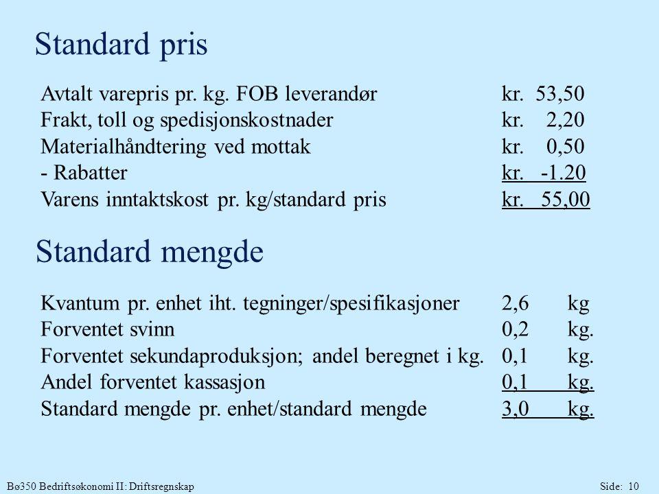 Bø350 Bedriftsøkonomi II: DriftsregnskapSide: 10 Standard pris Avtalt varepris pr. kg. FOB leverandørkr. 53,50 Frakt, toll og spedisjonskostnaderkr. 2
