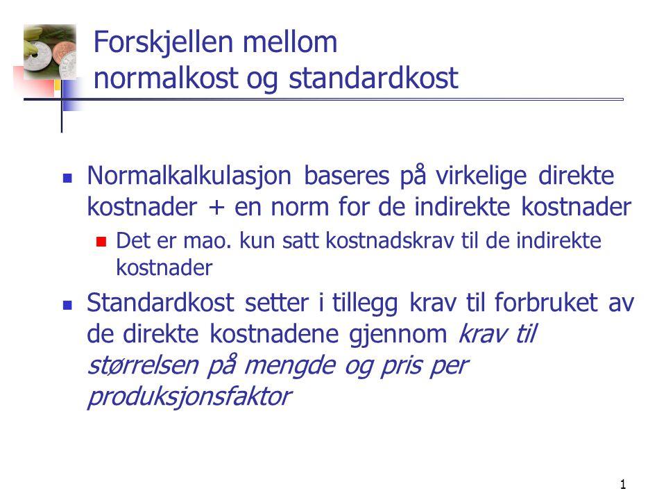 12 Indirekte tilvirkningskostnader  Standarder for de indirekte variable og faste kostnadene fastsettes på grunnlag av de budsjetterte indirekte kostnader ved hjelp av standardsatser  Prinsippet for beregning av standardsatser er tilsvarende som for normalsatser