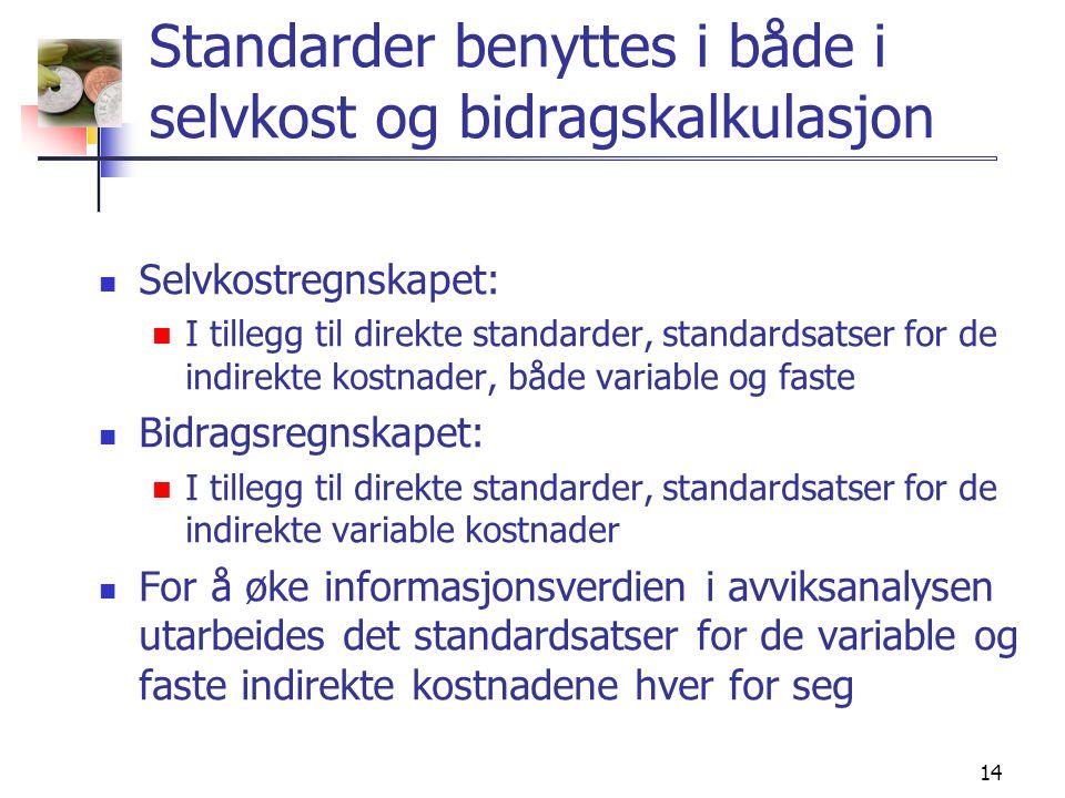 14 Standarder benyttes i både i selvkost og bidragskalkulasjon  Selvkostregnskapet:  I tillegg til direkte standarder, standardsatser for de indirekte kostnader, både variable og faste  Bidragsregnskapet:  I tillegg til direkte standarder, standardsatser for de indirekte variable kostnader  For å øke informasjonsverdien i avviksanalysen utarbeides det standardsatser for de variable og faste indirekte kostnadene hver for seg