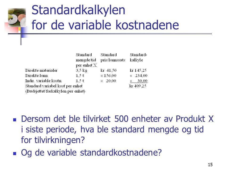 15 Standardkalkylen for de variable kostnadene  Dersom det ble tilvirket 500 enheter av Produkt X i siste periode, hva ble standard mengde og tid for tilvirkningen.