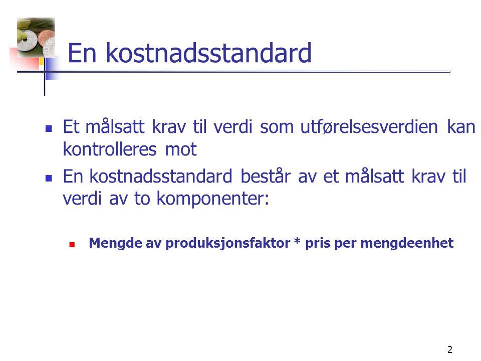 3 Formålet med bruk av kostnadsstandarder  Budsjettering  Kostnadskontroll  Avviksanalyse  Management by exception  Prisfastsettelse  Beholdningsvurdering  Forenkling av driftsregnskapet