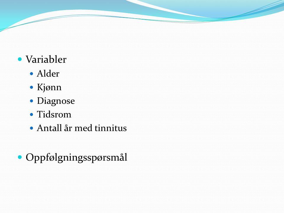  Variabler  Alder  Kjønn  Diagnose  Tidsrom  Antall år med tinnitus  Oppfølgningsspørsmål