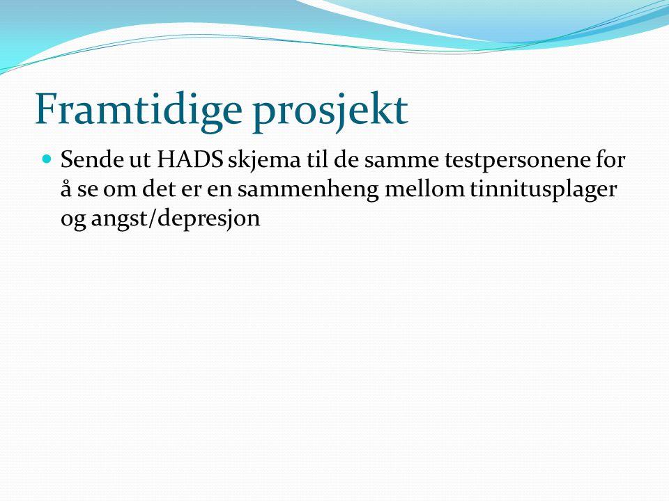 Framtidige prosjekt  Sende ut HADS skjema til de samme testpersonene for å se om det er en sammenheng mellom tinnitusplager og angst/depresjon