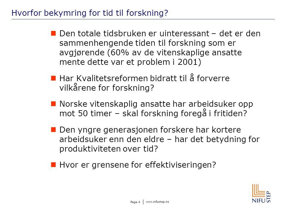 www.nifustep.no Page 4 Hvorfor bekymring for tid til forskning.