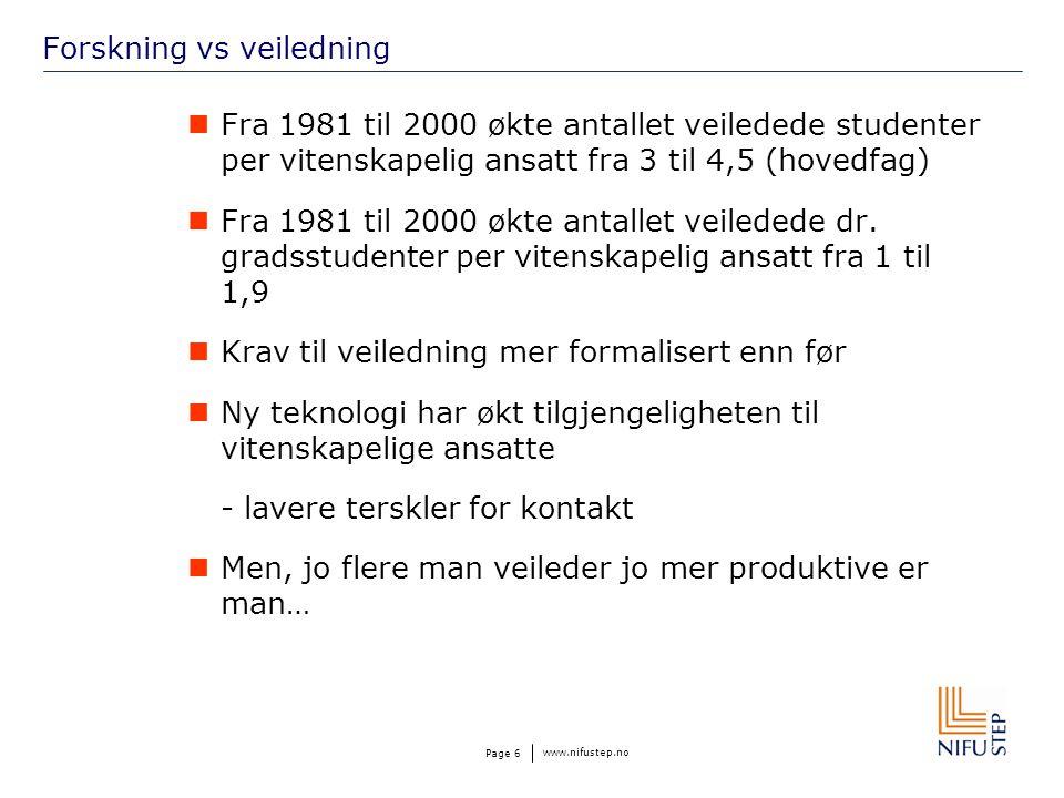 www.nifustep.no Page 6 Forskning vs veiledning  Fra 1981 til 2000 økte antallet veiledede studenter per vitenskapelig ansatt fra 3 til 4,5 (hovedfag)  Fra 1981 til 2000 økte antallet veiledede dr.