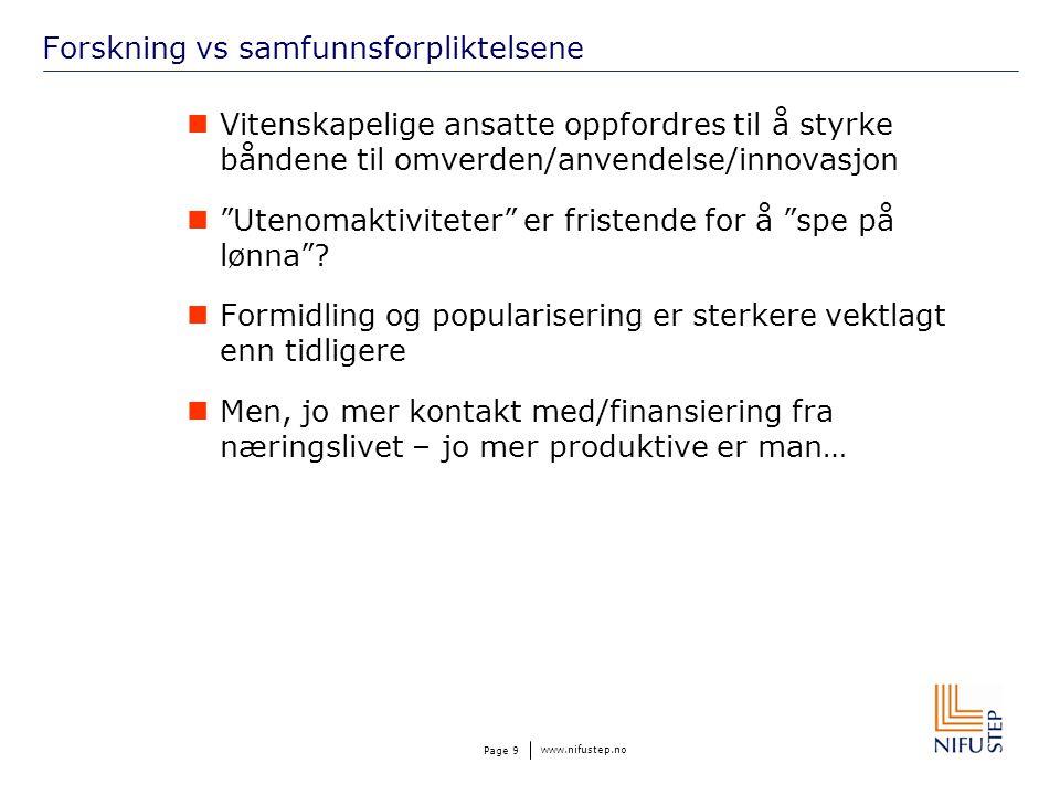 www.nifustep.no Page 9 Forskning vs samfunnsforpliktelsene  Vitenskapelige ansatte oppfordres til å styrke båndene til omverden/anvendelse/innovasjon  Utenomaktiviteter er fristende for å spe på lønna .