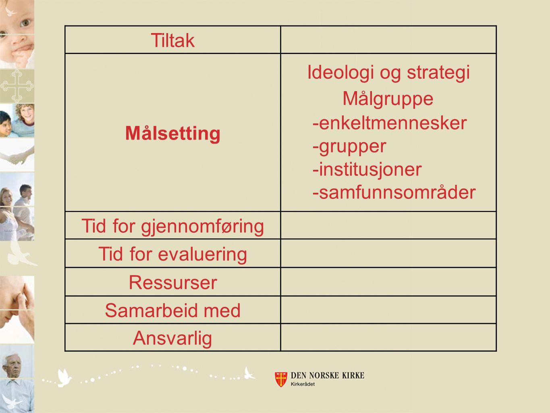 Tiltak Målsetting Tid for gjennomføring Tid for evaluering Ressurser Samarbeid med Ansvarlig Ideologi og strategi Målgruppe -enkeltmennesker -grupper -institusjoner -samfunnsområder