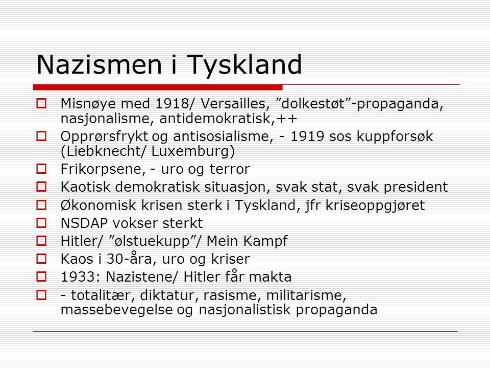 Nazismen i Tyskland  Misnøye med 1918/ Versailles, dolkestøt -propaganda, nasjonalisme, antidemokratisk,++  Opprørsfrykt og antisosialisme, - 1919 sos kuppforsøk (Liebknecht/ Luxemburg)  Frikorpsene, - uro og terror  Kaotisk demokratisk situasjon, svak stat, svak president  Økonomisk krisen sterk i Tyskland, jfr kriseoppgjøret  NSDAP vokser sterkt  Hitler/ ølstuekupp / Mein Kampf  Kaos i 30-åra, uro og kriser  1933: Nazistene/ Hitler får makta  - totalitær, diktatur, rasisme, militarisme, massebevegelse og nasjonalistisk propaganda
