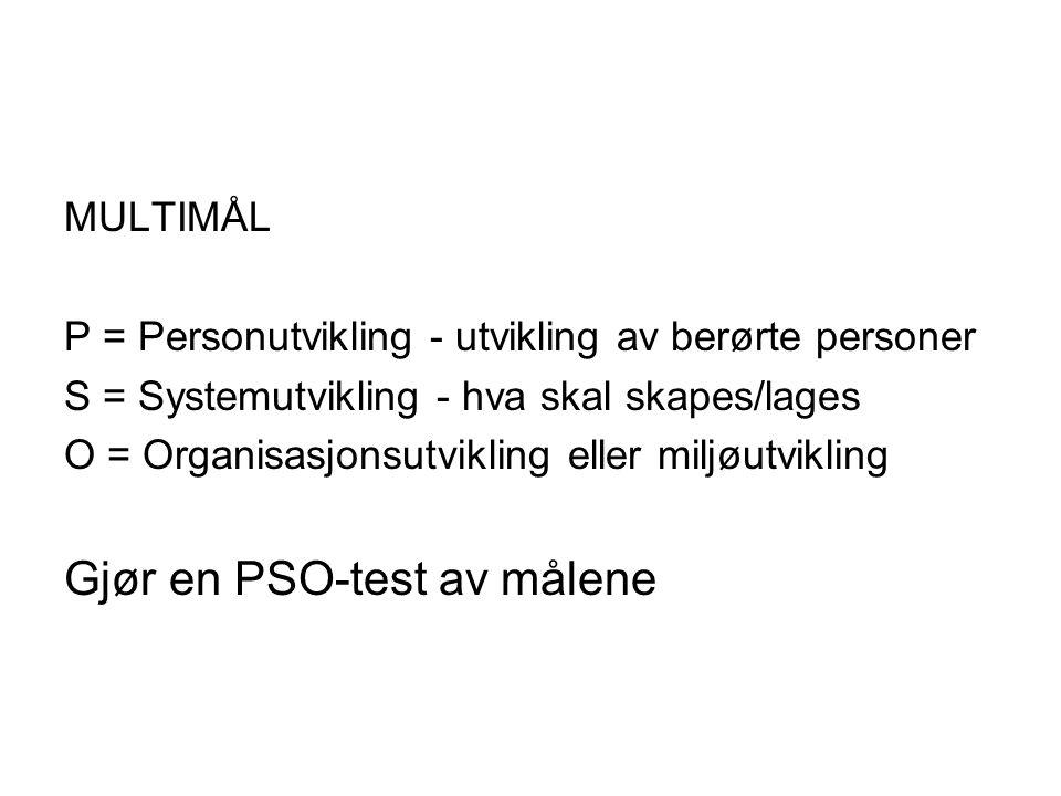 MULTIMÅL P = Personutvikling - utvikling av berørte personer S = Systemutvikling - hva skal skapes/lages O = Organisasjonsutvikling eller miljøutvikling Gjør en PSO-test av målene