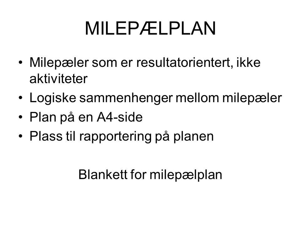 MILEPÆLPLAN •Milepæler som er resultatorientert, ikke aktiviteter •Logiske sammenhenger mellom milepæler •Plan på en A4-side •Plass til rapportering på planen Blankett for milepælplan