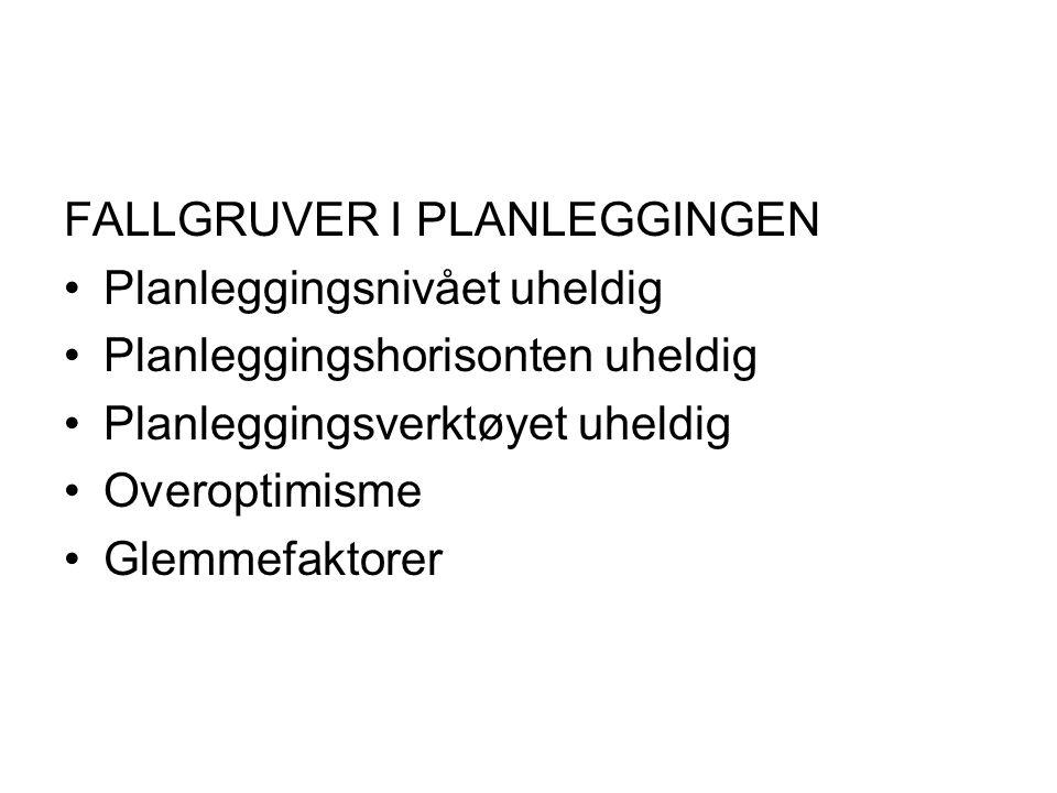 FALLGRUVER I PLANLEGGINGEN •Planleggingsnivået uheldig •Planleggingshorisonten uheldig •Planleggingsverktøyet uheldig •Overoptimisme •Glemmefaktorer