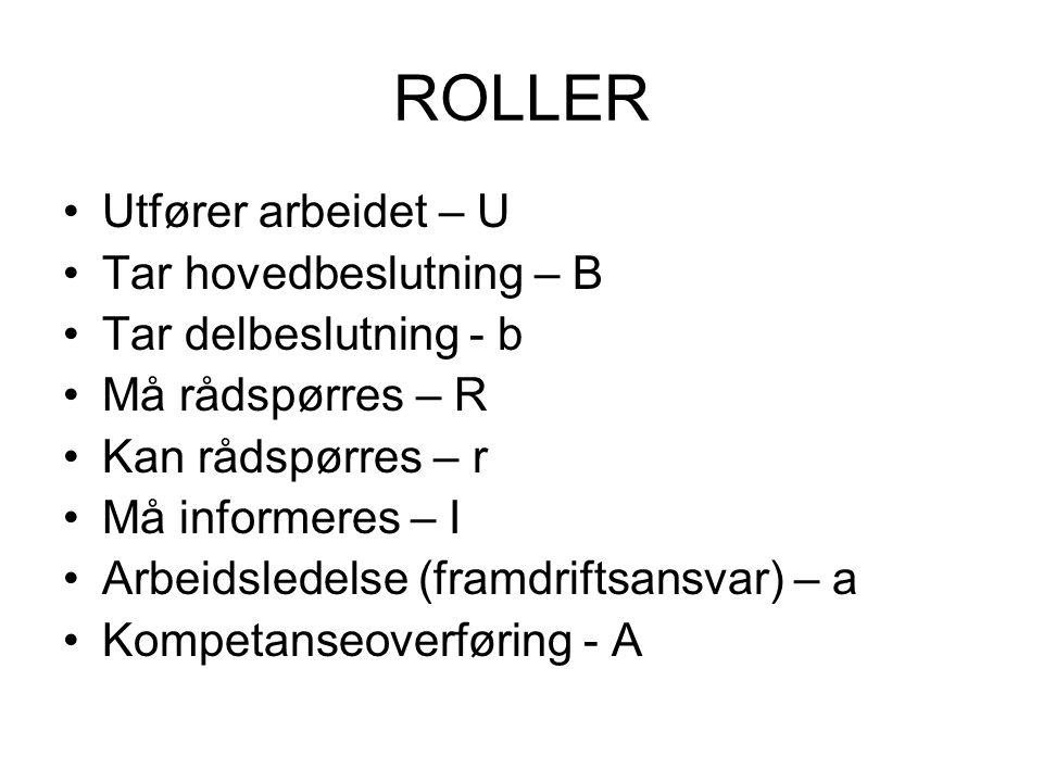 ROLLER •Utfører arbeidet – U •Tar hovedbeslutning – B •Tar delbeslutning - b •Må rådspørres – R •Kan rådspørres – r •Må informeres – I •Arbeidsledelse (framdriftsansvar) – a •Kompetanseoverføring - A