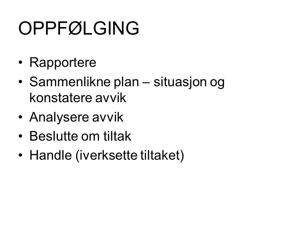 OPPFØLGING •Rapportere •Sammenlikne plan – situasjon og konstatere avvik •Analysere avvik •Beslutte om tiltak •Handle (iverksette tiltaket)
