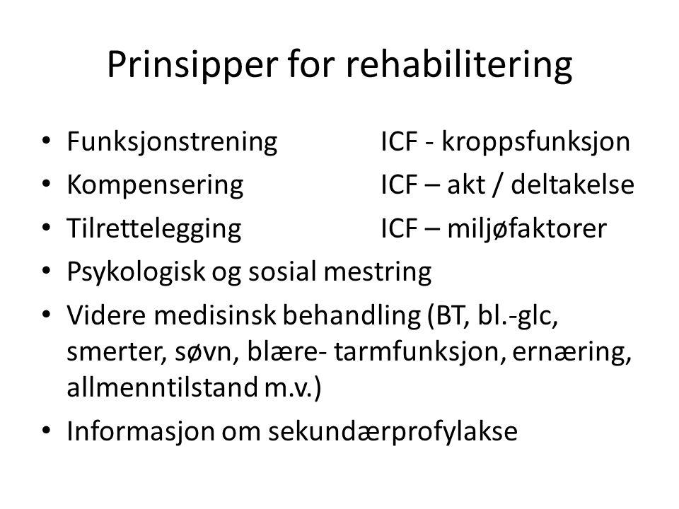 Prinsipper for rehabilitering • FunksjonstreningICF - kroppsfunksjon • KompenseringICF – akt / deltakelse • TilretteleggingICF – miljøfaktorer • Psyko