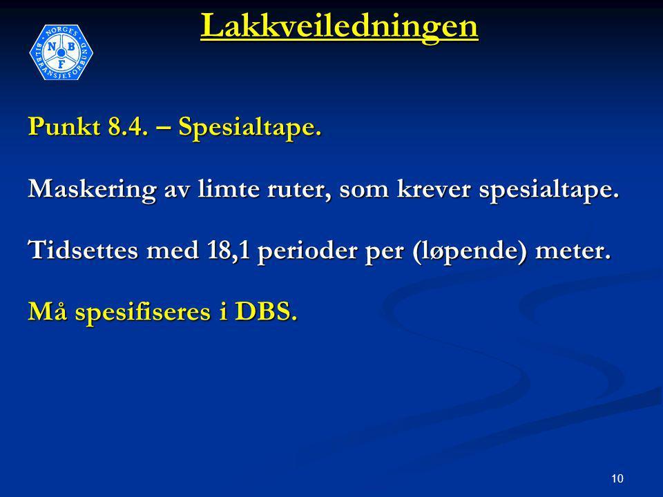 10Lakkveiledningen Punkt 8.4. – Spesialtape. Maskering av limte ruter, som krever spesialtape.