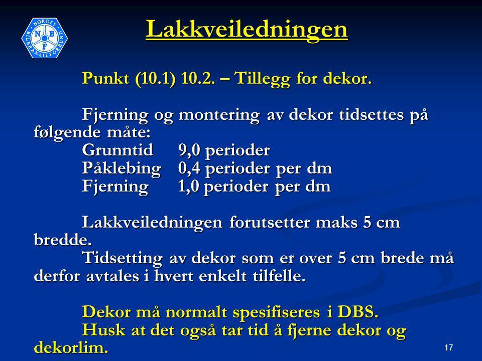 17Lakkveiledningen Punkt (10.1) 10.2. – Tillegg for dekor.