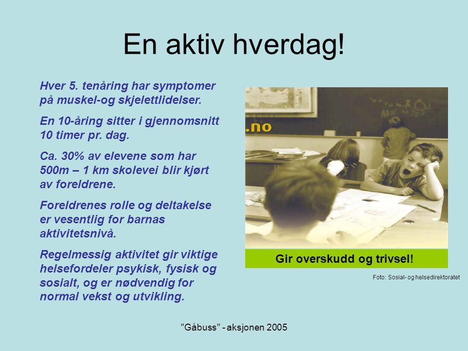 Gåbuss - aksjonen 2005 Gåbuss gir spreke foreldre….