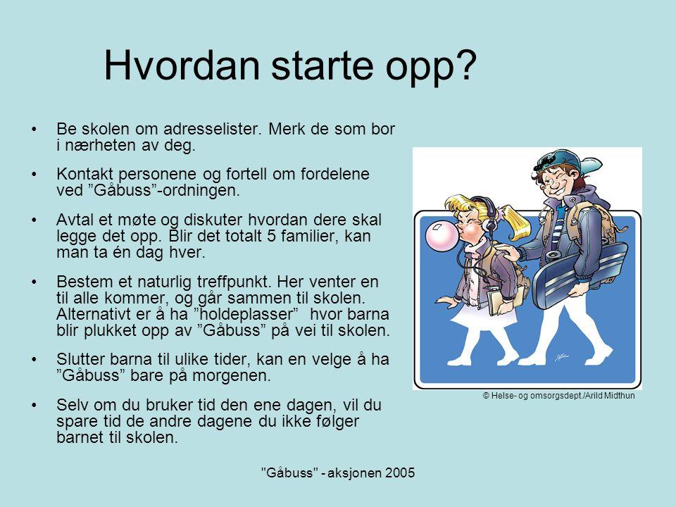 Gåbuss - aksjonen 2005 Hjelp til å komme i gang.