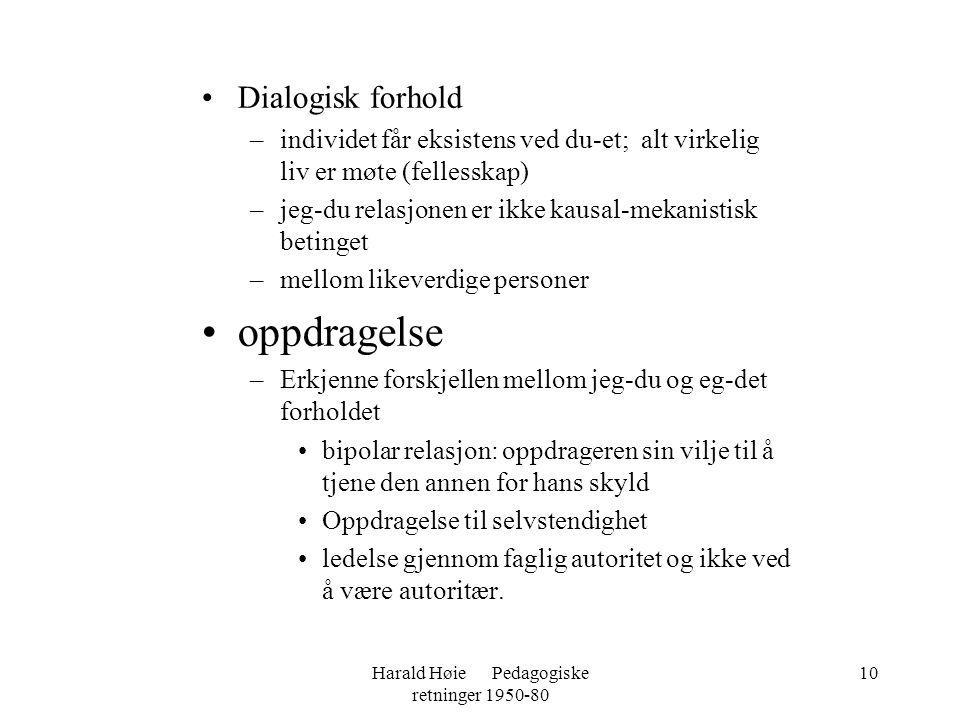 Harald Høie Pedagogiske retninger 1950-80 10 •Dialogisk forhold –individet får eksistens ved du-et; alt virkelig liv er møte (fellesskap) –jeg-du rela