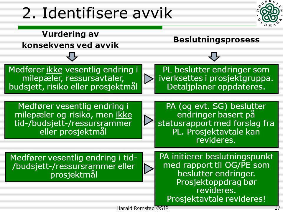 Harald Romstad ØSIR 17 2. Identifisere avvik Vurdering av konsekvens ved avvik Medfører ikke vesentlig endring i milepæler, ressursavtaler, budsjett,