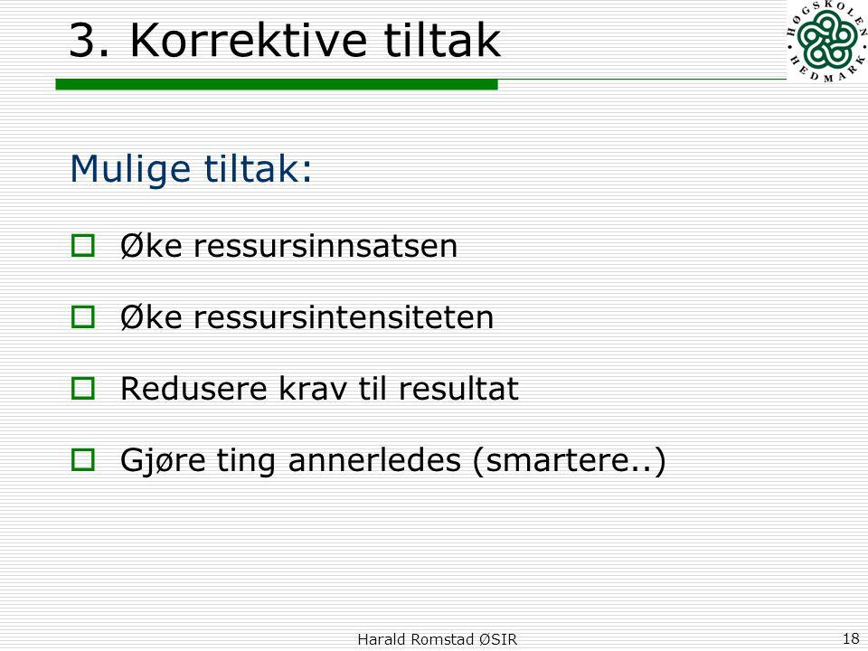 Harald Romstad ØSIR 18 3. Korrektive tiltak Mulige tiltak:  Øke ressursinnsatsen  Øke ressursintensiteten  Redusere krav til resultat  Gjøre ting