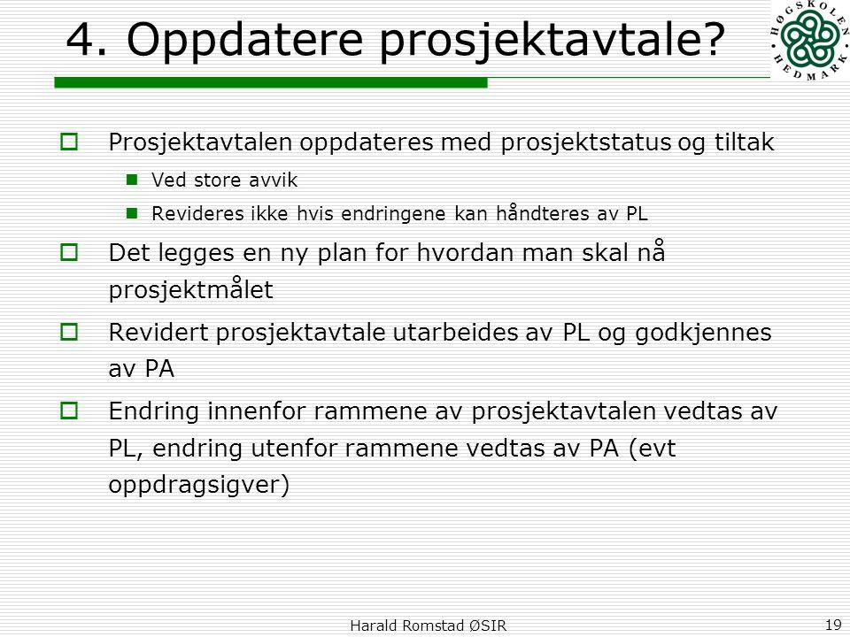 Harald Romstad ØSIR 19 4. Oppdatere prosjektavtale?  Prosjektavtalen oppdateres med prosjektstatus og tiltak  Ved store avvik  Revideres ikke hvis
