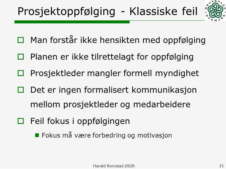 Harald Romstad ØSIR 21 Prosjektoppfølging - Klassiske feil  Man forstår ikke hensikten med oppfølging  Planen er ikke tilrettelagt for oppfølging 